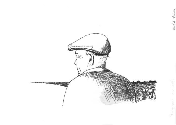 Inkttekening van Nicole Pluim bij het verhaal 'Iets van spijt' in de bundel 'De rollator van mevrouw Bloem' van Martinus de Kam