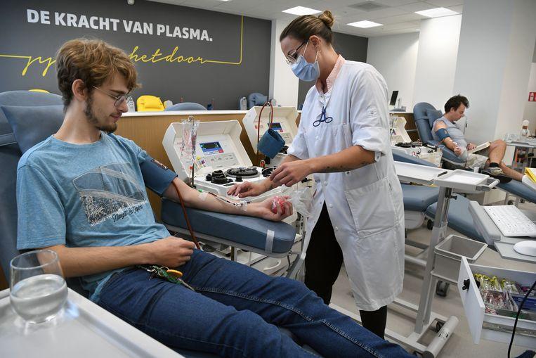 Een zogenoemde donatielocatie, in september geopend in een winkelcentrum in Utrecht door bloedbank Sanquin Beeld Marcel van den Bergh / de Volkskrant