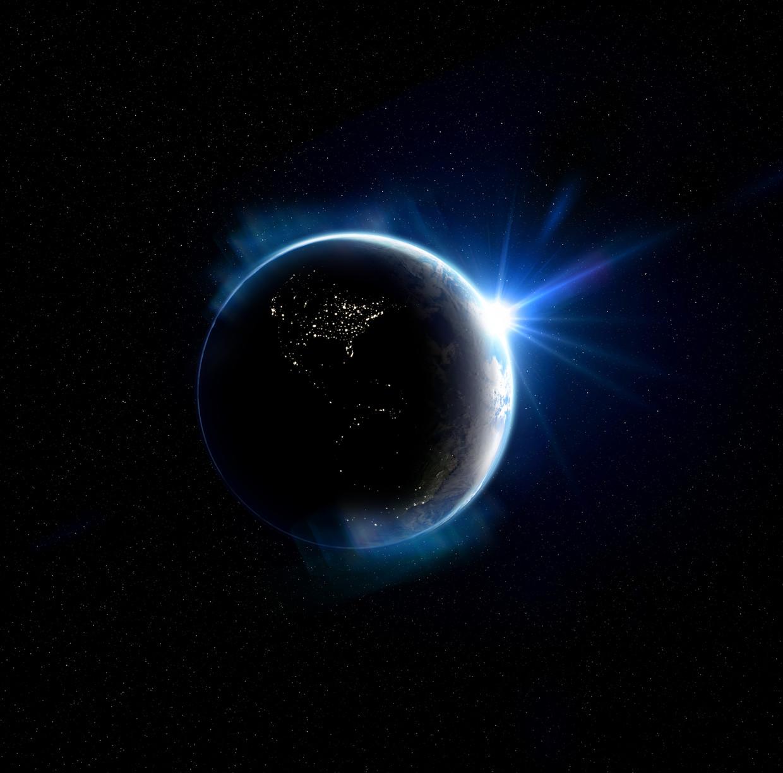 Een 3d-illustratie van de aarde. De aarde draaide in 2020 sneller dan gebruikelijk.