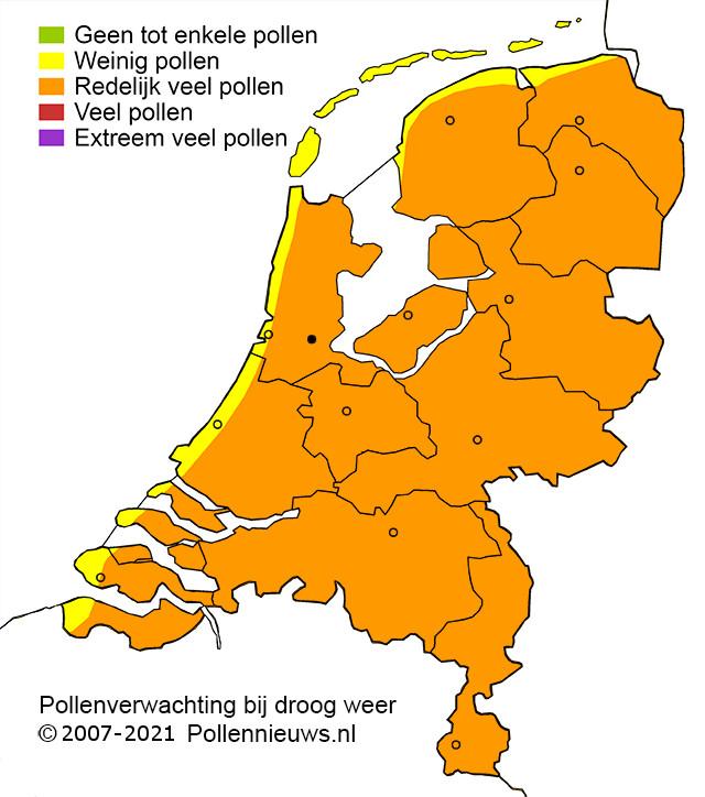 Het aantal pollen in de lucht.