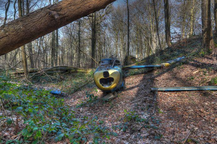 Een vliegtuig in het Kluisbos. Verboden terrein, zeker in deze broedperiode.