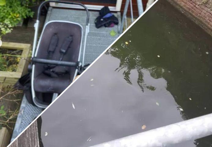 De kinderwagen en het water van het kanaal in Middelburg.