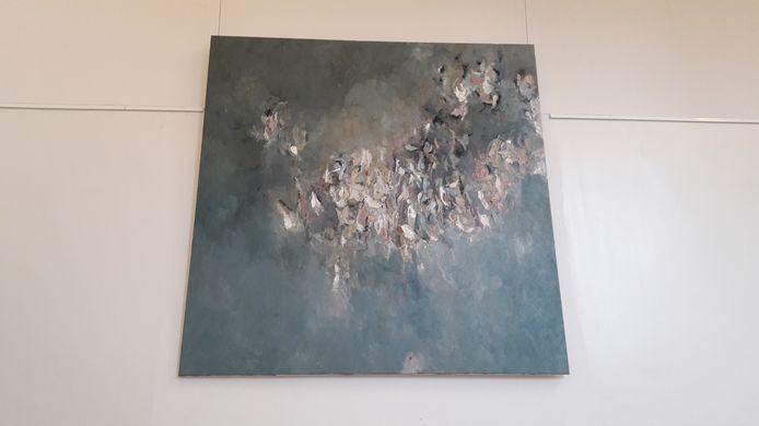 Het nieuwe kunstwerk in de hal van de rechtbank Overijssel, een werk van wijlen Pascale Ticheler uit Enschede.