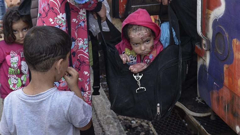 Dit beeld, genomen in Macedonië, ging afgelopen week de wereld rond. Het was niet duidelijk wie de jongen was en waar hij naartoe ging, tot nu dus. Beeld © EPA