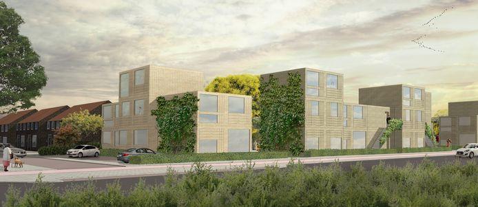 De nieuwe tijdelijke woningen aan de Quinten Matsyslaan in Tongelre, Eindhoven. Sint Trudo plaatst ze voor tien jaar voor mensen die snel een woning nodig hebben.