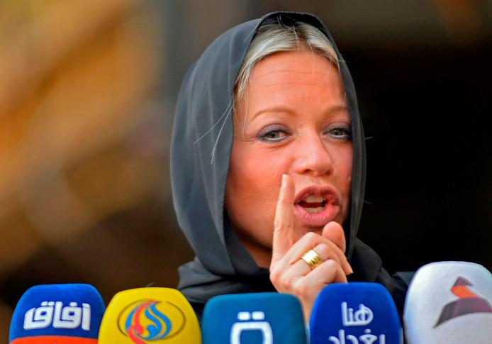 Jeanine Hennis-Plasschaert tijdens een persconferentie in Irak in november 2019.