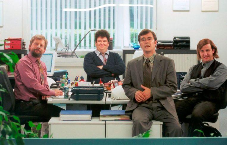 """De collega's van 'Het eiland'. """"Zullen we dat afspreken?"""" was een memorabele zin uit die tv-reeks. Beeld © Johan Jacobs"""