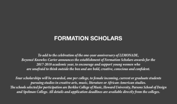 Beyoncé kondigt op haar site aan studiebeurzen te verdelen.