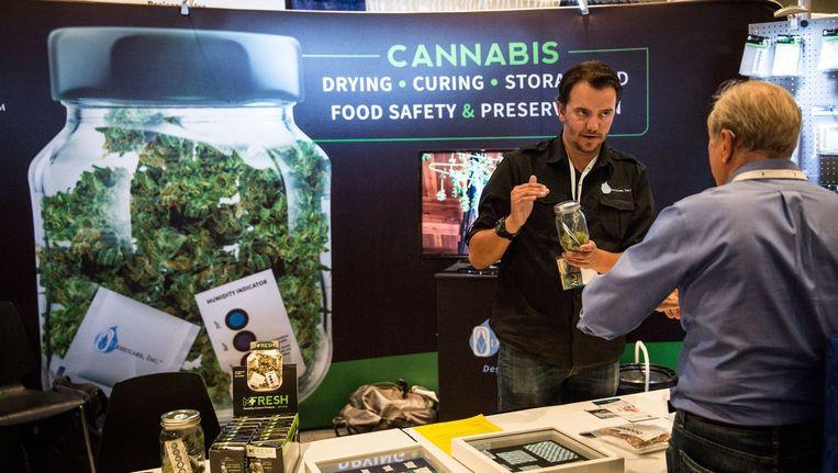 Een standje op de 'Cannabis World Congress Expo' in New York.