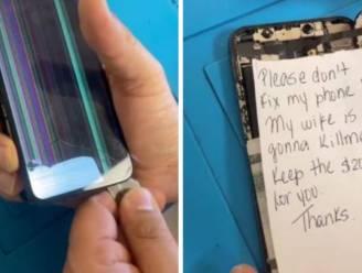 """Briefje verborgen in kapotte smartphone: """"Niet herstellen aub! Mijn vrouw vermoordt mij"""""""