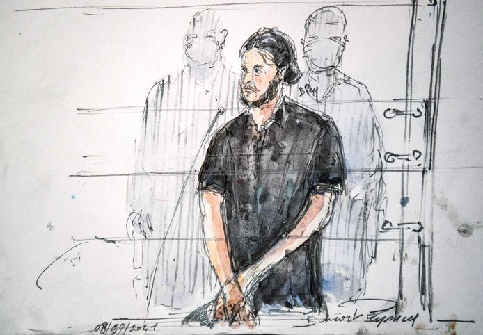 Croquis de Salah Abdeslam, le principal accusé au procès des attentats du 13 novembre.