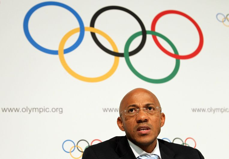 Frankie Fredericks (50). Namibië. lid IOC sinds 2004, voorzitter atletiekbond namibië,hoofdbestuurslid IAAF, lid evaluatiecommissie spelen 2024. Geschorst. Beeld BELGAIMAGE