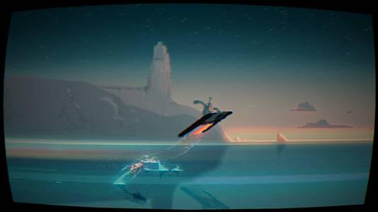 Yep, hier scheert je hoofdpersonage over het water op een floppydiskette.