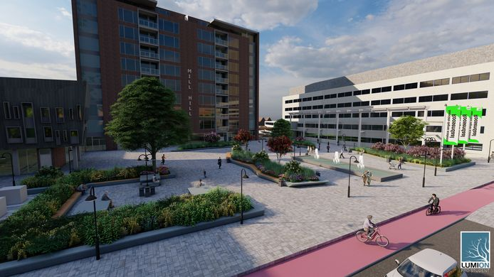 Zo zou het Mill Hill-plein in Roosendaal er uit kunnen zien, volgens de studenten van de Associate degrees Academie.