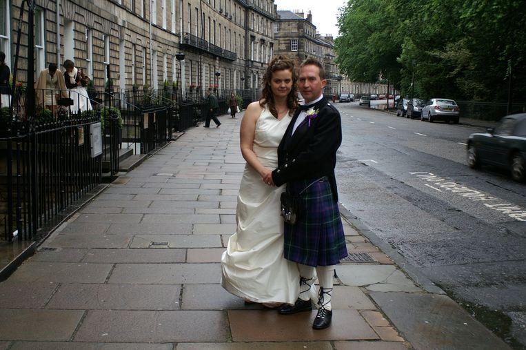 De Amerikaanse Aimee Swartz en haar Schotse man Terry Glancy. Beeld Archief Aimee Swartz