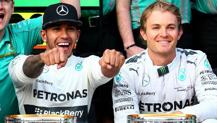 Lewis Hamilton en Nico Rosberg. Beeld GETTY
