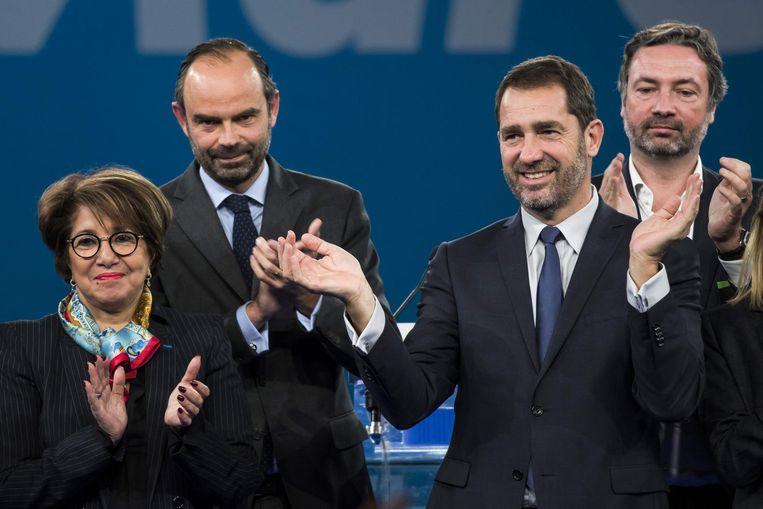 Castaner (tweede van rechts) na zijn verkiezing. Beeld afp