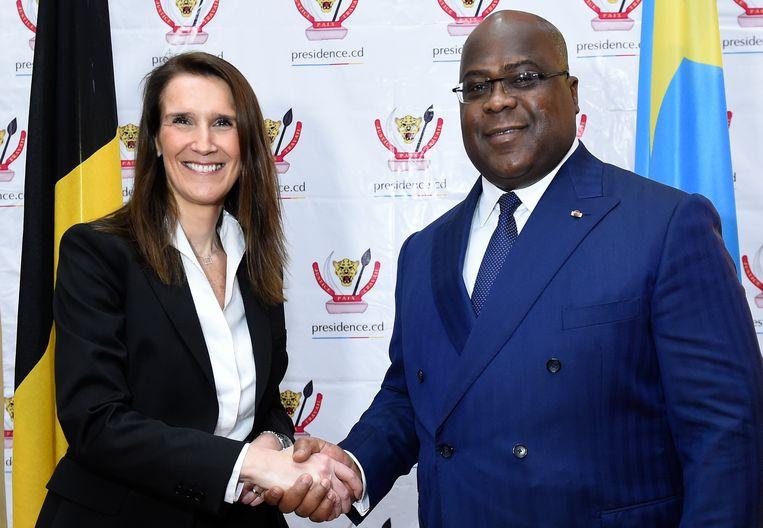 Félix Tshisekedi ontvangt in Kinshasa Belgisch premier Sophie Wilmès, begin februari dit jaar. Beeld BELGA