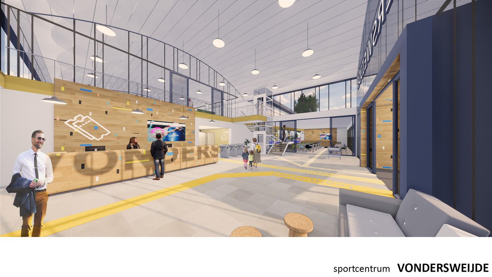 Een impressie van de nieuwe entree en receptie van het sportcentrum Vondersweijde.