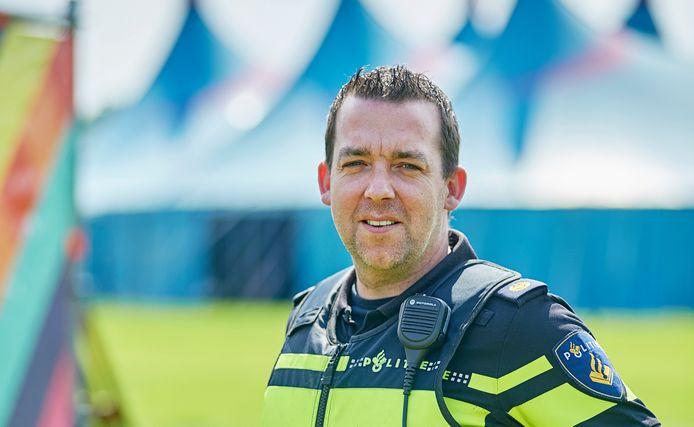 Willem de Louw, politiecoördinator op het terrein van 7th Sunday te Erp.Fotograaf: Van Assendelft/Jeroen Appels