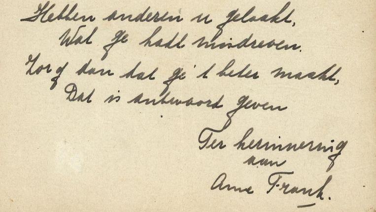 Een deel van het versje van Anne Frank. Beeld Bubb Kuyper Veilingen