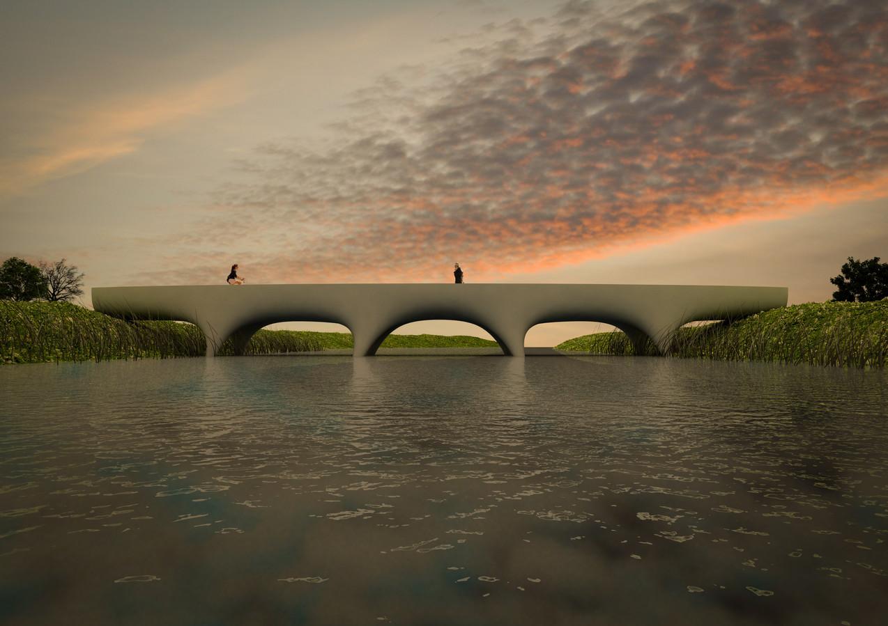 Het ontwerp van de 3D-geprinte brug die in het parkje De Geologenstrook in de Nijmeegse wijk Zwanenveld komt.
