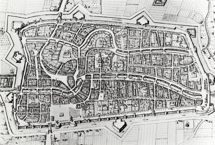 Plattegrond van de stad Utrecht uit 1598. Eén van de kaarten van het Utrechts Archief die via Wikimedia Commons te vinden is.
