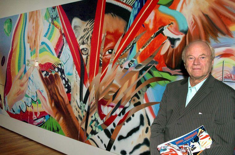 James Rosenquist, hier voor zijn schilderij 'Brazil', werd 83 jaar. Beeld EPA