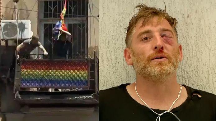 Een extreemrechtse groep vernielde de regenboogvlaggen en viel cameraman Aleksandr Lasjkarava (rechts) aan.