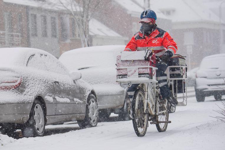 Deze postbode trotseert de sneeuw in Stabroek. Beeld Photonews