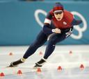 Chris Witty in actie tijdens de Olympische Spelen van Salt Lake City op de 1000 meter.