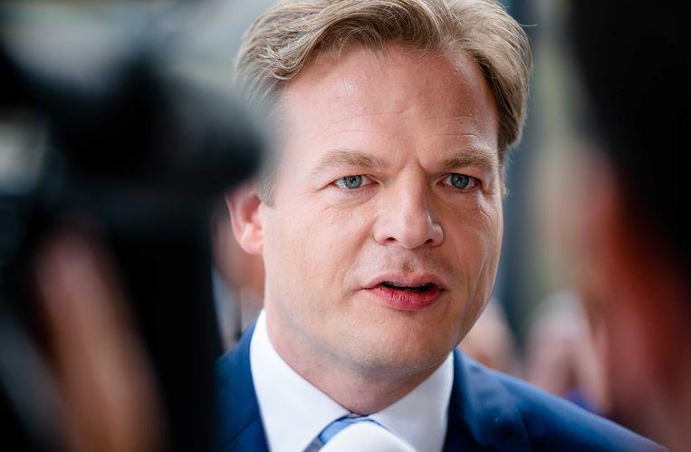 Pieter Omtzigt na afloop van de bekendmaking van de eerste stemmingsronde voor de lijsttrekkersverkiezing van het CDA. De stemmingsronde eerder deze week moest worden over gedaan in wegens fraudegevaar.  Beeld ANP