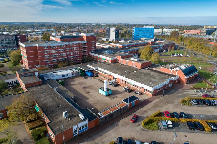 Het MC Zuiderzee in Lelystad - onderdeel van de failliete IJsselmeerziekenhuizen - gezien vanuit de lucht.