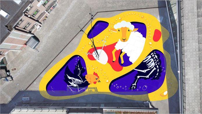 Zo zal de Hopmarkt er vanuit de lucht uitzien.