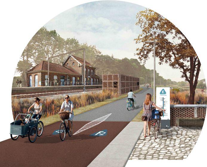 Een illustratiebeeld over hoe de fietssnelweg eruit zal zien aan het station van Dilbeek.