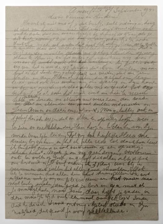 De afscheidsbrief, geschreven in september 1944 in Kamp Amersfoort.