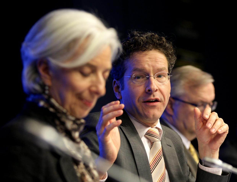 Jeroen Dijsselbloem, hier nog minister van financiën en Christine Lagarde, hier nog directeur van het Internationaal Monetair Fonds (IMF) die hij had gehoopt op te volgen.