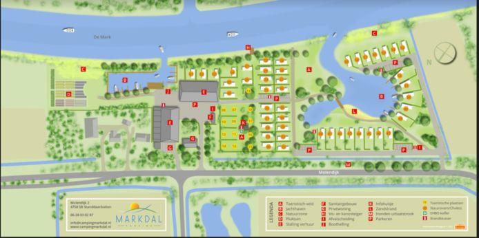 Het uitbreidingsplan van camping Markdal in Standdaarbuiten.