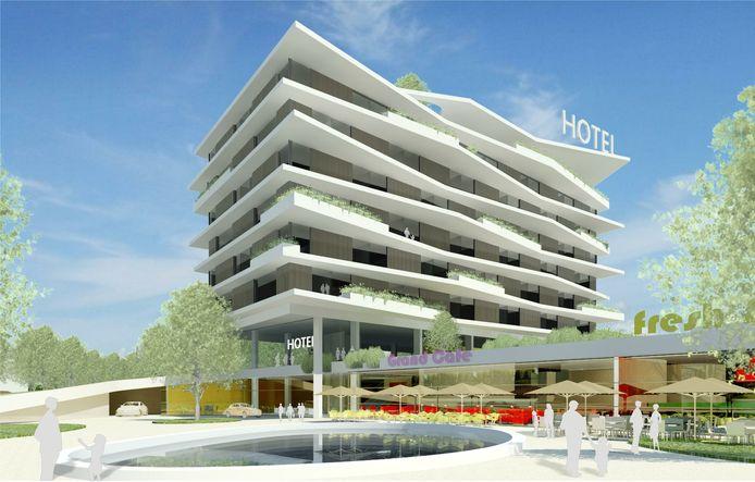 Impressie van het hotel dat in Ede gebouwd zal worden.