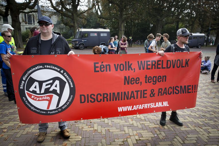 Plein 1813: organisaties onder leiding van de Anti-Fascistische Aktie. Beeld Arie Kievit