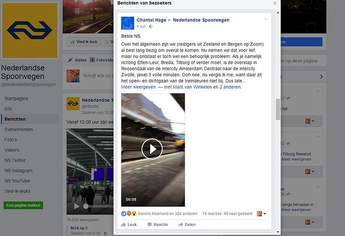 Reactie uit West-Brabant op Facebook van Nederlandse Spoorwegen