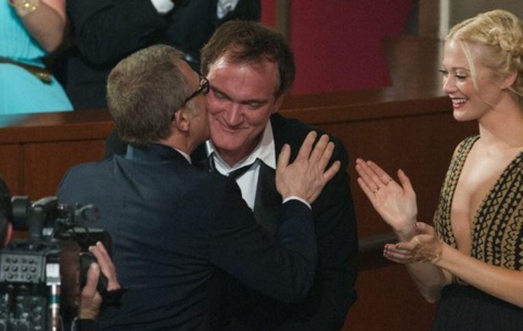 Christoph Waltz (Beste Mannelijke Bijrol ) kust Quentin Tarantino. Beeld EPA
