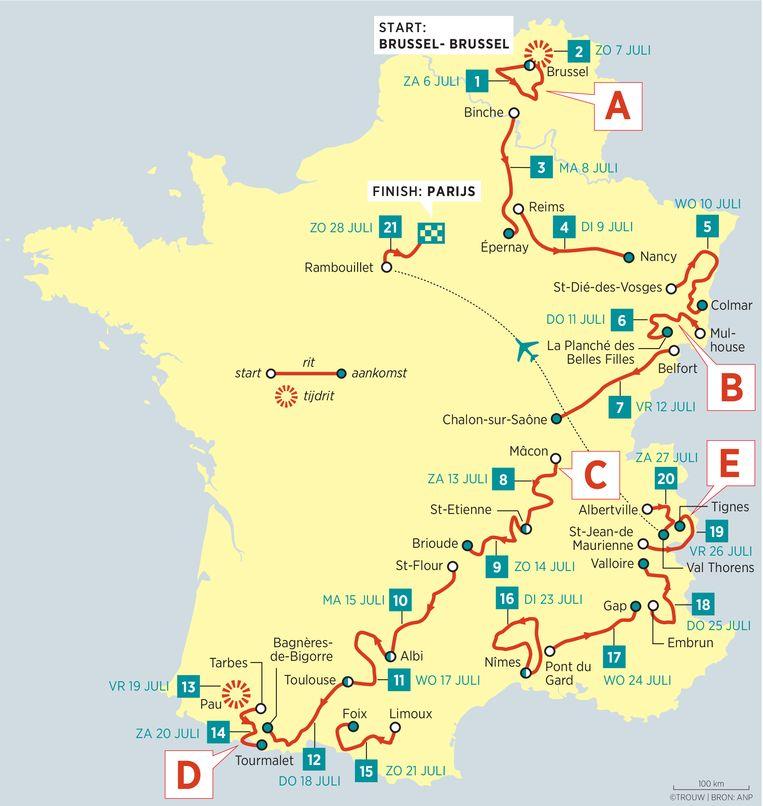 Tour de France overzichtkaart. 19-07-05 Beeld Louman & Friso