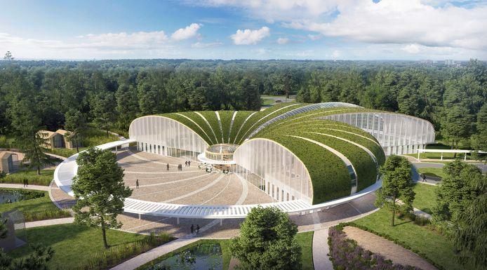 Een impressie van het centrumgebouw van luxe vakantiepark Forest Village, dat Landal GreenParks gaat beheren. Het park komt op de locatie van camping De Zwarte Bergen in Luyksgestel.