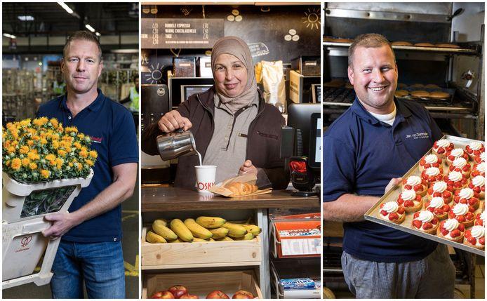 V.l.n.r.: veilingmeester Bart Zomerdijk, kioskmedewerker Gedesia Waslati en bakker Arjan van Dommelen.