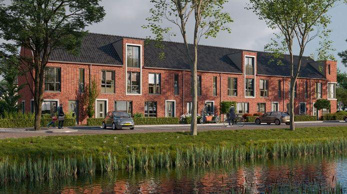Impressie van een blok rijwoningen die bouwbedrijf Van Wanrooij te koop aanbiedt in de Oijense Zij Noord.