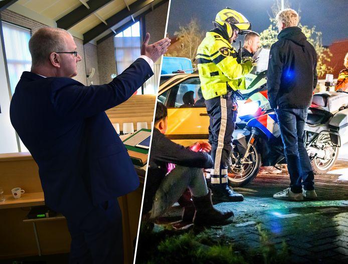 Dominee Arend-Jan de Boer (links) maakt zich zorgen na de ongeregeldheden (rechts) op Urk.