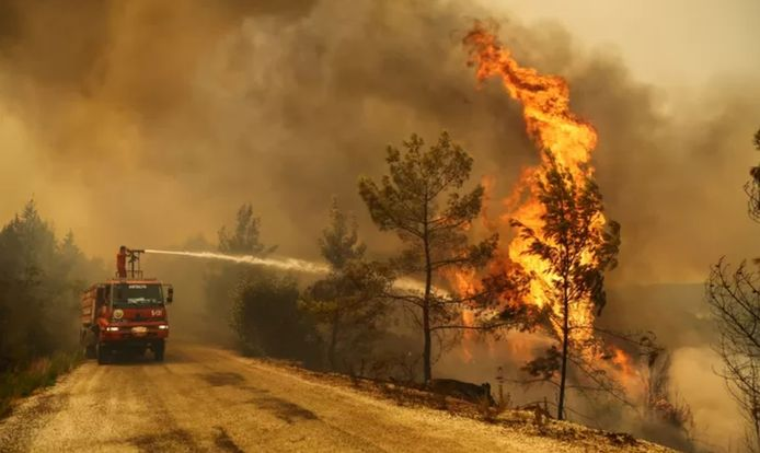 Hevige bosbranden in Turkije.