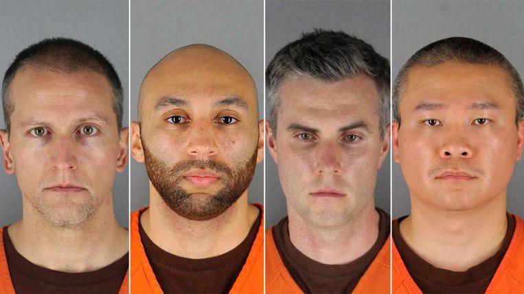 De betrokken agenten in de zaak-George Floyd (vlnr): hoofdverdachte Derek Chauvin, Alexander Kueng, Thomas Lane en Tou Thao. Beeld AP