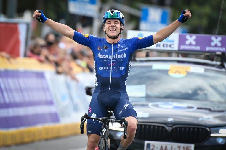 Evenepoel triomfeert eind augustus in de  Cycling Classic. Beeld BELGA